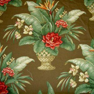 Vintage Tropical Mambo Cocoa Floral Textile